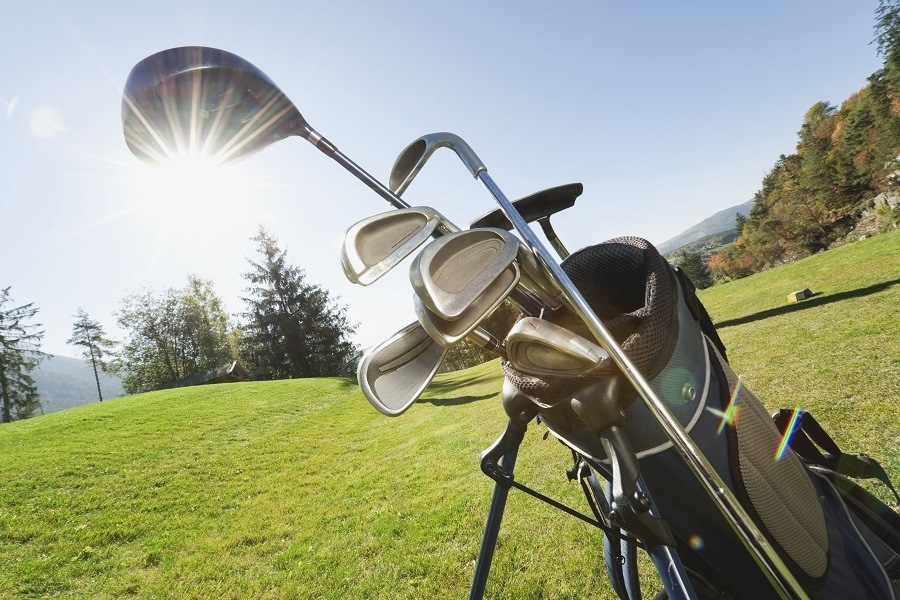 Golf Bag with Clubs in Sunset