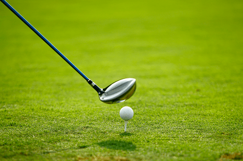 Golf Ball and Club on Grass