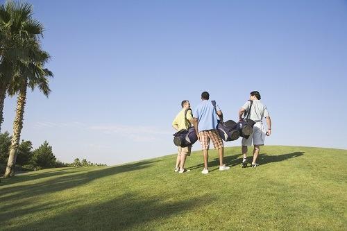 Three Men Leaving Golf Terrain