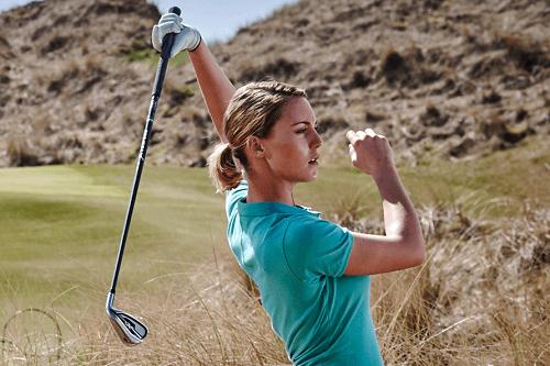Woman Practice Golf Swing